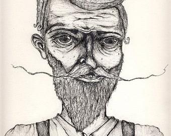 Mustache Beard Suspenders Drawing 8x10 Movember art Funny art illustration beard photo print kitsch decor
