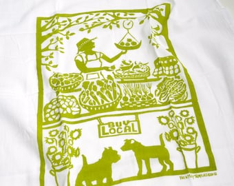 Flour Sack Dish Towel - Buy Local: Green