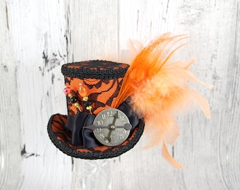 Orange and Black Lace Peacock Medium Mini Top Hat Fascinator, Alice in Wonderland, Mad Hatter Tea Party, Derby Hat