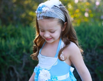 Flower Sash, light blue , white   Sash #2 , flower Belt, maternity sash