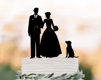 Bride and groom Wedding Cake topper with dog, funny wedding cake topper of people unique cake topper,