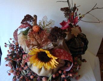 Trio of pumpkins, burlap pumpkins, pumpkins with embellishments, fall decor, autumn decor, table centerpiece, home decor