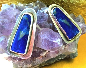 Vintage Tribal Native American Artisan Sterling Silver Lapis Lazuli Cabochon Handcrafted Earrings