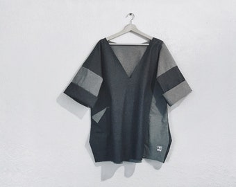 Raw Edge Loose Fit Geometric Denim Top