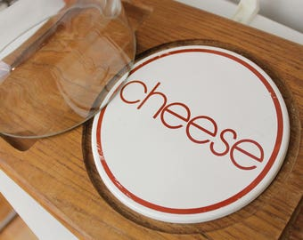 Large GoodWood Teakwood Modern Cheese Plate/ Charcuterie Board/ Vintage Serving Tray with Glass Dome/ Made in Thailand