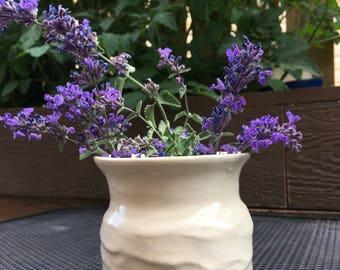 Cream & Textured Pottery Vase