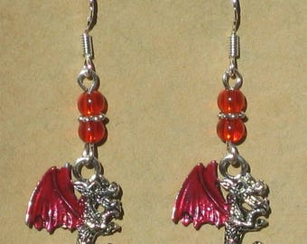 Enameled Dragon Earrings