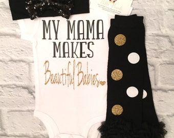 Baby Girl Clothes, My Mama Makes Beautiful Babies Bodysuit, Mama Bodysuits, Mama Shirts, Baby Girl Clothes, Mothers Day Gifts, Baby Shower