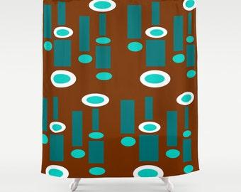 Brown Shower Curtain Geometric Retro Mid Century Modern Turquoise White Bathroom Decor Home Decor Mid Century 1950s