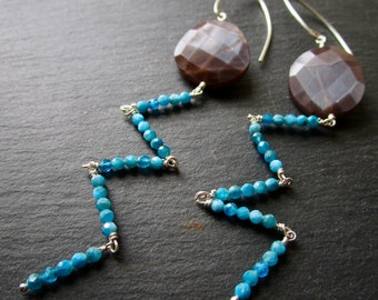 Chocolate Moonstone & Neon Apatite GLAM LUXE - Sterling Silver Gemstone Earrings - Long - Etsy Accessories - catROCKS - Faceted - Teal