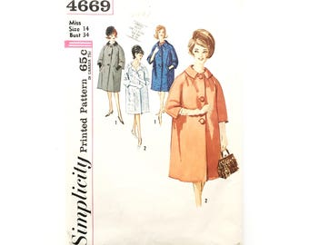 1960s Simplicity 4669 pattern • size 14 • bust 34 • junior and misses' coat • vintage fashion