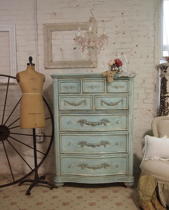 Turquoise Shabby Chic Bedrooms: Items Similar To Painted Cottage Shabby Aqua Chic Romance