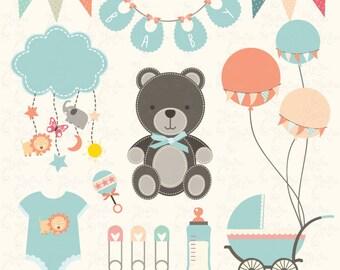 "Baby Shower Clipart "" BABY SHOWER ""clip art, babies stroller, birth announcement, baby shower Invitation, vintage baby shower, 17PNG  Bsw007"