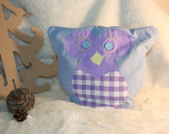"""heating pad """"OWL"""" Denim Blue & purple grain of rice and lavender flowers in the Luberon"""
