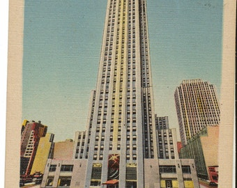 Vintage Postcard, New York City, RCA Building, Rockefeller Center, 1946