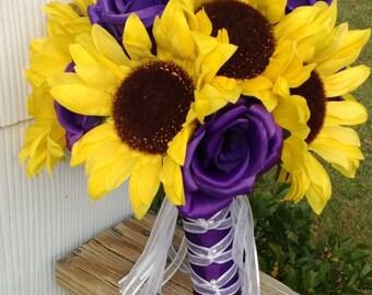 Sunflower Bouquet, Sunflower Purple Rose Bridal Bouquet, Sunflower Wedding, Yellow Purple Bouquet, Sunflower Purple Bouquet, Rustic Bouquet