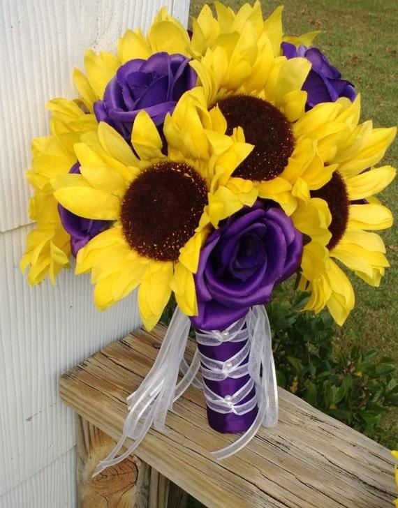 Sunflower Bouquet Sunflower Purple Rose Bridal Bouquet