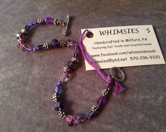 Glass beaded bracelet, size SMALL. Purple, violet, lavender, Boho, hippie, fair trade, gift, free shipping. Made in USA.