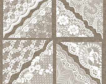 White Lace Corners Clipart, Lace png clip art, cottage chic lace overlays, wedding clipart shabby chic digital lace borders embellishments