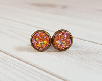 Peach Druzy Earrings, Coral Opal Druzy Stud Earrings, Coral Peach Stud Earrings, Coral Peach Faux Druzy Earrings, 8mm Peach Druzy Stud