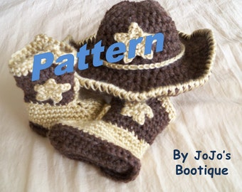 PATTERN Baby Star Cowboy Hat and Boots Crochet PATTERN - Baby Cowboy Hat and Boots Pattern - Western Hat and Boot Pattern - by JoJosBootique
