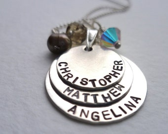 custom personalized hand stamped sterling silver TRIO three name necklace grandma mom gift