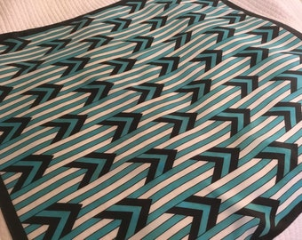 Vintage Silk Scarf Square Bold Blues Geometric Large 80's