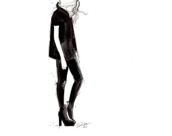 Print from original watercolor and pen fashion illustration by Jessica Durrant, titled Black on Black