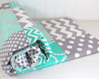 Baby Blanket, Baby Quilt, Nursery Decor, Baby Bedding, Baby Shower Gift, Baby Gift, Teal, Mint, Turquoise, Gray, Grey, White