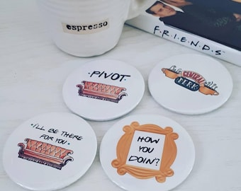 Friends TV show pin badges, Friends Central Perk badge, How you doin badge, friends pivot badge, ross, joey, i'll be there for you badge
