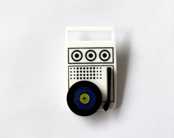 "Acrylic laser cut ""Moonrise Sounds"" camping vintage record player brooch hand painted Moonrise Kingdom Wes Anderson"