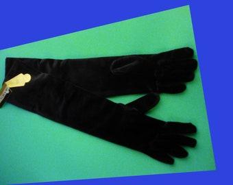 "Vintage long velvet gloves - Ben Berger - original tags - 16"" long - Victorian accessory - black hand gloves -formal velvet gloves - glover"