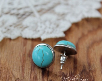 Turquoise Stud Earrings, Turquoise Earrings, Stud Earrings, Turquoise Jewelry, Gemstone Earrings