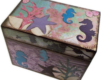 Wedding Guest Book Box Alternative, Holds 4x6 Cards, Wedding Box ,Large Handcrafted, Ocean, Seahorse Theme, Bridal Storage, MADE TO ORDER