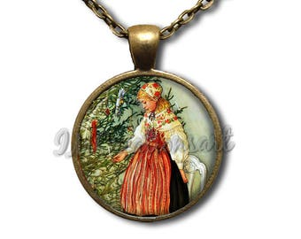Carl Larsson's Christmas Tree Glass Dome Pendant or with Chain Link Necklace  AP122