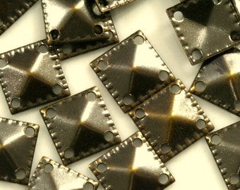 100 pcs 9 mm antique copper tone brass square tag two 4 hole connector charms ,findings 497AC-30
