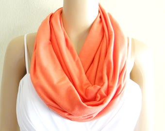 Light Coral Red Circle Scarf. Light Coral Red Infinity Scarf. Soft Cotton Spandex Loop Scarf.