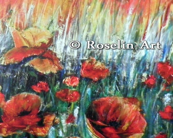 Print: Knife oil painting. Poppies. Fields. 90 X 60 cm