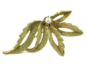 Vintage Faux Pearl Leaf Motif Gold Tone Pin
