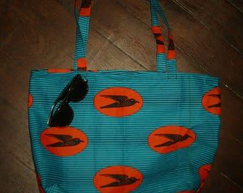 Handbag, Tote, Tote bag in Wax original turquoise swallow