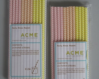 Fancy Striped Paper Straws! New in Package! Two 24 Packs! 48 Straws Total! Multiple Colors!