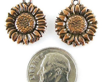 TierraCast Pewter Charms-Antique Copper SUNFLOWER (2)