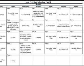FREE 50K (31.1 mile) Ultra Marathon Training Schedule, Trail Race Training Schedule