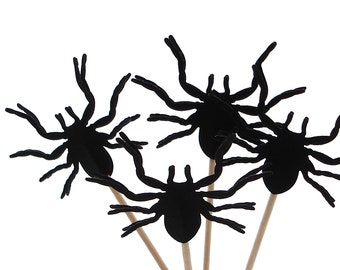 12 Black Tarantula Spider Cupcake Toppers, Halloween Party Decorations - No264