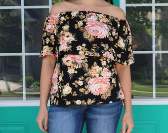 Women's Off the Shoulder Top pattern, Royal Street Top pdf sewing pattern off the shoulder shirt womens sewing patterns Seamingly Smitten