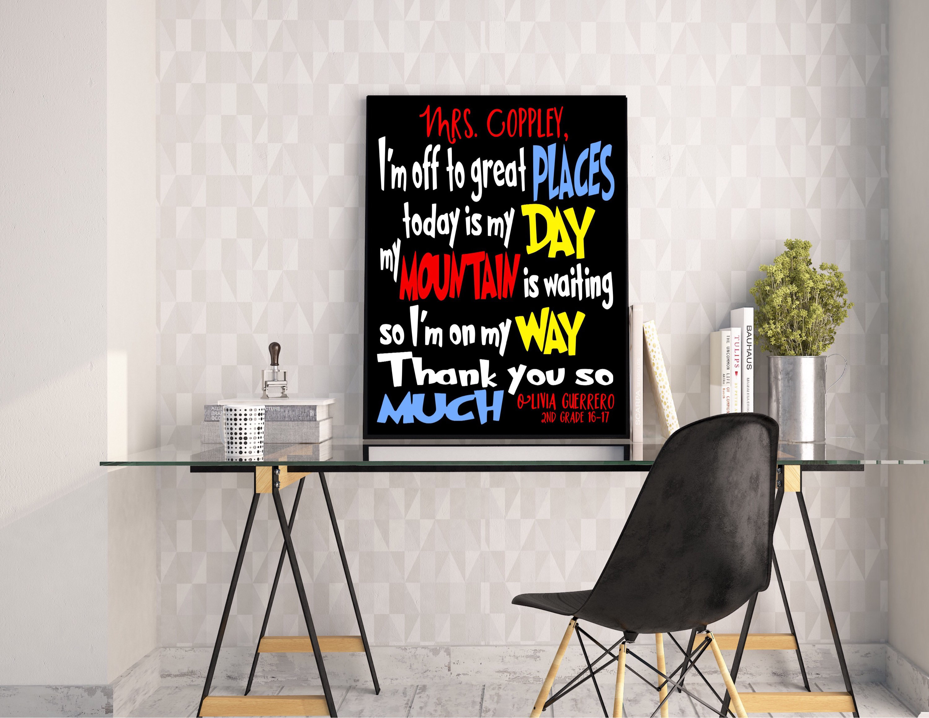DR. SEUSS Teacher QUOTE Your Off To Great Places Gift Appreciation Art  Print Canvas