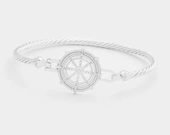 Ship Wheel Metal Hook Silver-Plated Bangle Bracelet, Thank You Gift, Birthday Gift, Graduations Gift