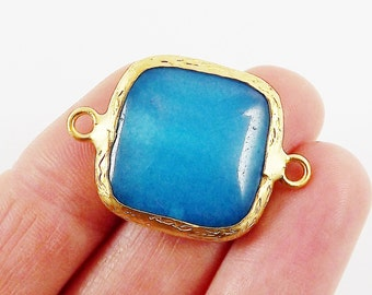 23mm Cyan Blue Jade Square Gemstone Connector Station - 22k Gold plated Bezel - 1pc
