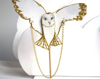 Brooch OWL white and gold printed leather