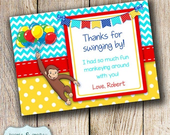 Curious george birthday i am one banner curious curious george birthday party thank you card curious george party invitation personalized file to bookmarktalkfo Images